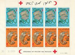 MAROC - Feuille N°743/4A **  Paire Tête-bêche (1975) Croissant Rouge - Bijoux - Marche Verte - Maroc (1956-...)