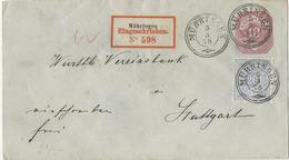 Württemberg 1878, 20 Pf. Auf 10 Pf. Ganzsache Brief Per Einschreiben V Mühringen - Wurttemberg