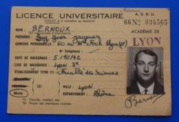 VIGNETTE-1965/66 LICENCE UNIVERSITAIRE CARTE ÉTUDIANT UNIVERSITÉ  LYON-FACULTÉ DES SCIENCES-CHIMIE MINÉRALE-ORGANIQUE - Documents Historiques