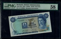 BERMUDA 1970 BANKNOTES ONE DOLLAR PMG 58 UNC !! - Bermudes