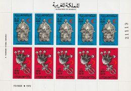 MAROC - Feuille N°781/2A **  Paire Tête-bêche (1976) Croissant Rouge - Bijoux - - Maroc (1956-...)