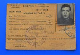 ACADÉMIE DE PARIS VI  LICENCE UNIVERSITAIRE CARTE ÉTUDIANT UNIVERSITÉ-FACULTÉ DES SCIENCES-CHIMIE MINÉRALE-ORGANIQUE - Documents Historiques