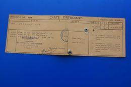 1962/63 CARTE D'ÉTUDIANT UNIVERSITÉ DE LYON-FACULTE DES SCIENCES  CHIMIE MINÉRALE -ORGANIQUE-ŒUVRES UNIVERSITAIRES - Documents Historiques