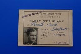AIX-EN-PROVENCE -1953/54 CARTE D'ÉTUDIANT UNIVERSITÉ -FACULTÉ DE DROIT ŒUVRES UNIVERSITAIRES - Documents Historiques