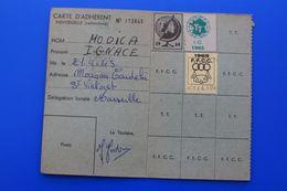 VIGNETTES 1964/65--TOURISME ET TRAVAIL CARTE DE MEMBRE ACTIF ADHÉRENT DOMICILIE SAINT VICTORET 13 - Documents Historiques