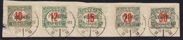 Italie Fiume Timbres Taxe 1919 Yvert 8 / 12 Obliteres. T. Taxe De Hongrie Surcharges Fiume Sur Fragment D'enveloppe. - 8. Besetzung 1. WK