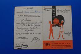 J.O.C VIGNETTES 1966-MOUVEMENT JEUNESSE OUVRIÈRE CHRÉTIENNE  CARTE DE MEMBRE ACTIF ADHÉRENT DOMICILIE MARIGNANE 13 - Historical Documents