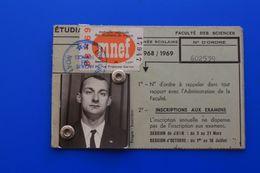 MNEF VIGNETTE 1968/69 CARTE D'ÉTUDIANT UNIVERSITÉ LYON-FACULTÉ SCIENCES CHIMIE MINÉRALE -ORGANIQUE-ŒUVRES UNIVERSITAIRES - Documents Historiques