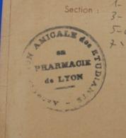 1947/48 LYON CARTE D'ÉTUDIANT UNION INTERNATIONALE -AMICALE NATIONALE ETUDIANTS DE FRANCE PHARMACIE - Documents Historiques
