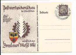 DR PP 129 -  6 Pf  Hindenburg Med. Braun Breslau, Postwertzeichenschau Messe 1941 M. Blanko SST - Postwaardestukken