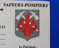 1967 ROUSSILLON - AMICALE DES SAPEURS POMPIERS CARTE DE MEMBRE BIENFAITEUR-HONORAIRE - Documents Historiques
