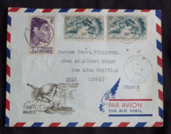 TB Enveloppe Obliteré Papeete Tahiti  1950 , 1° Liaison Air France TAHITI - PARIS - Polynésie Française