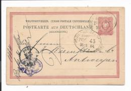 Bahnpost  Hude - Nordenham,  Zug 45 Auf Ganzsache Nach Belgien Von 1884 - Briefe U. Dokumente