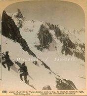 Chamonix * Ascension Aiguille Du Tacul, Vue Aiguille Du Géant - Photo Stéréoscopique 1901 - Voir Scans - Photos Stéréoscopiques