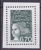 Timbre Neuf ** N° 3098a(Yvert) France 2001 - Marianne Du 14 Juillet 6,70 F Vert Foncé, Sans Phosphore - 1997-04 Marianne Of July 14th