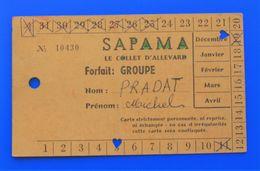 SKI  LE COLLET D'ALLEVARD DECEMBRE 1971 FORFAIT GROUPE REMONTEE SAPAMA FÉDÉRATION FRANÇAISE DE SKI CARTE PERSO POINÇONS - Invierno