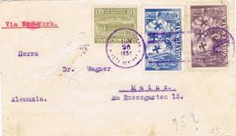 36928. Carta Aerea Via New York COBAN (Alta Verapaz) Guatemala 1934 To Germany. Stamps COLON - Guatemala