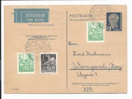 DDR  P 51 A  - 12 Pf Pieck Antwortteil DV III/18/185 M. 11 Pf Zusatz Per Lp Ab Belgrad Gelaufen - [6] República Democrática