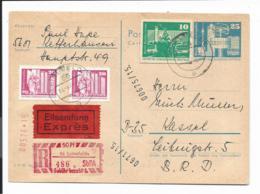 DDR  P 80  - 25 Pf Bauwerke Mit 10 Pf GAA  + 40 Pf Zusatz Per Eilboten-Einschreiben V. Leinefelde N. Kassel Gelaufen - [6] República Democrática
