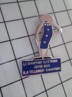 1220 Pin's Pins / Beau Et Rare / THEME : EDF GDF / EDF GDF LE CHAUFFAGE ELECTRIQUE Bla Bla Bla NUCLEAIRE - EDF GDF