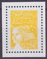 Timbre Neuf ** N° 3443a(Yvert) France 2002 - Marianne Du 14 Juillet 0,01 € Jaune, Sans Phosphore - 1997-04 Marianne Of July 14th
