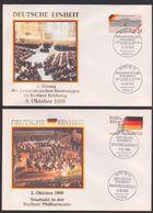Deutsche Einheit 3. Oktober 1990 Staatsakt In Berlin, 4.10. Gesamtdeutscher Bundestag Reichstag, 2 Schmuckumschläge - Storia Postale