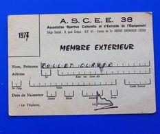 GRENOBLE A.S.C.E.E. 38 ASSOCIATION SPORTIVE CULTURELLE ET ENTRAIDE DE L'EQUIPEMENT CARTE DE MEMBRE EXTÉRIEUR 1977 - Sports