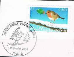 FRANCE : N° 3622 Oblitéré 1er Jour (Paris 1er Janvier 2004) Sur Fragment (Meilleurs Voeux) - PRIX FIXE - - Used Stamps