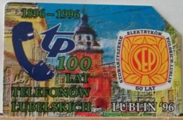 PO109 - POLONIA - POLSKA , URMET - 50 -  LUBLIN 96 -LUBLINO 100 ANNI TP TELEFONO LUBELSKICH - Pologne