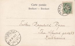 Norway PPC Husar & Lady KONGSVINGER 1902 KRISTANIA (Arr. Cds.) 5 Øre Posthorn Stamp (2 Scans) - Briefe U. Dokumente