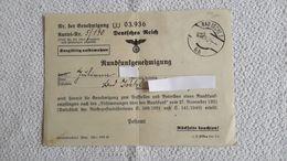 Zettel Rundfunkgenehmigung Deutsches Reich Bad Ischl 1945 Radio - 1939-45