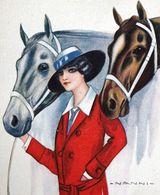 Illustrator NANNI Signed ART DECO Femme Chevaux Cheval équitation Equestrian Red Jacket Lady Horses Artistic Milano - Nanni