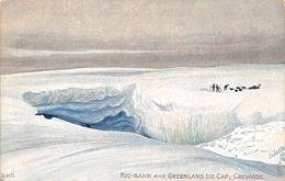 "010787 ""GROELLANDIA - FOG-BANK AND GREENLAND OCE CAP - CREVASSE""  ANIMATA, SLITTE. CART  NON SPED - Greenland"