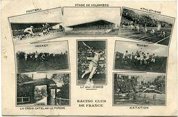 "FRANCE CARTE POSTALE AVEC REPIQUAGE PUBLICITAIRE ""RACING CLUB DE FRANCE FOOTBALL, NATATION, RUGBY, TENNIS,............."" - Stamps"