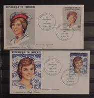 07 - 20 - Djibouti - 2 Envelloppes 1er Jour - Lady Diana - Familias Reales