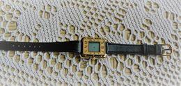 Montre Bijou Quartz  -  Aiguilles électronique - Bracelet  D'origine Cuir  Noir - Bijoux & Horlogerie