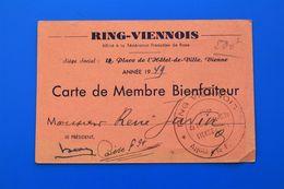 BOXE 1949 VIENNE Isère- RING VIENNOIS  -CARTE DE MEMBRE BIENFAITEUR-FÉDÉRATION FRANÇAISE DE BOXE - Boxe