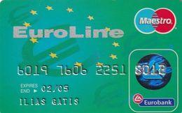 GREECE - Euroline, Eurobank Credit Card(reverse Schlumberger Solaic, Tel: 1144), 04/01, Used - Geldkarten (Ablauf Min. 10 Jahre)