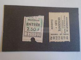 ZA293.8 Billet -Ticket  Ascenseur De Notre-Dame De La Garde Marseille -Entrée Ticket  Ca 1954 - Chemins De Fer