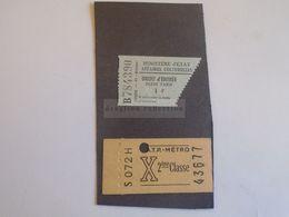 ZA293.9 Billet -Ticket  Metro -  + Entry Ticket  Ca 1954 - Subway