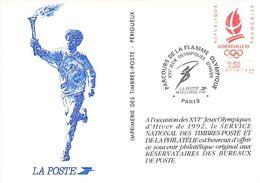 Pointez Sur L'image Pour Zoomer Carte Entier-Postaux Timbrée Du Parcours De La Flamme Olympique XVem Jeux Paris Le 14-1 - Winter 1992: Albertville