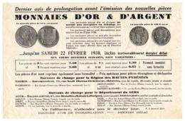 Dernier Avis Pour échange De MONNAIES D'or Et D'argent, 22 Février 1930, Bureaux De Change Pour Hautes Pyrénées Et Gers. - Monnaies & Billets