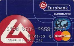 GREECE - Eurobank MasterCard(reverse ICA, Tel : 9289555), 11/99, Used - Cartes De Crédit (expiration Min. 10 Ans)
