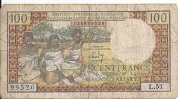 MADAGASCAR 100 FRANCS ND1966 VG+ P 57 - Madagascar