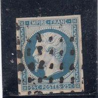 France - Année 1853 - N°YT 15 - 25c Bleu - Oblitération Gros Points Carrés, Sans Amincis - Signé Calves - Cote 300€ - 1853-1860 Napoléon III