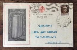RADIATORI IN ACCIAIO STAMPATO - DITTA  SIRIARDE - MILANO  - CARTOLINA  PER FORLI' IN DATA 9/10/1930 - Publicité