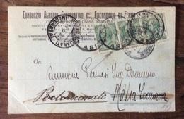 FERMO - CONSORZIO AGRARIO COOPERATIVO - CARTOLINA  PER MASSA FERMANA - PORTORECANATI IL 12/5/1921 Con Marche Da Bollo - Publicité