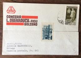 BOLZANO - CONCERIA L.OBERRAUCH - FIGLI  - CARTOLINA  Con AUGUSTO 30 C. PER MILANO IN DATA 22/9/38 - Publicité