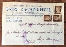 MIRANDOLA (MODENA) - DROGHE E COLONIALI EZIO CAMPANINI - DEPOSITO FIAMMIFERI - CARTOLINA  PER SASSO MARCONI IL 23/1/1944 - Advertising