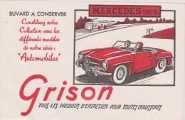 Buvard : GRISON  ,  Paris :voiture  ; Mercedes  190 Sl - Vloeipapier
